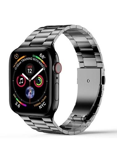 Wiwu Apple Watch 42mm Ultra Thin Steel Belt Three Beads Metal Kordon Gri